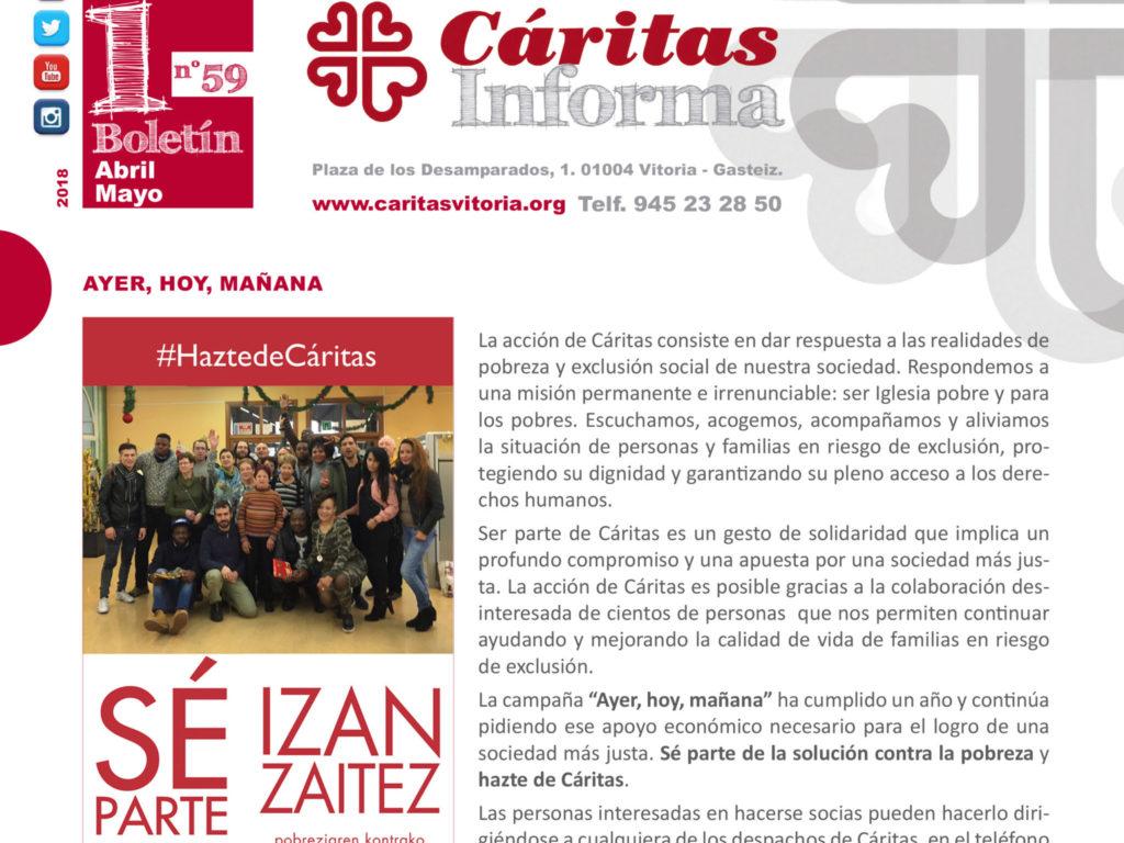 """Boletín """"Cáritas Informa"""". Abril y mayo de 2018"""