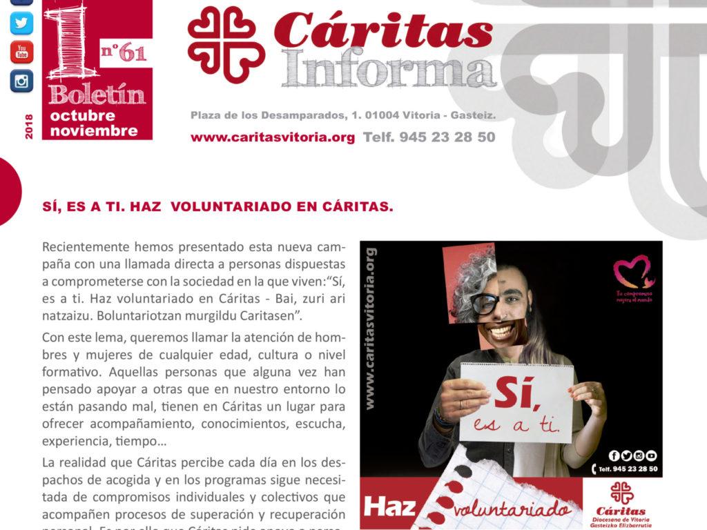 Boletín Cáritas Informa nº 61. Octubre y noviembre de 2018